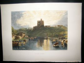After Turner 1879 Folio Hand Col Print. Norham Castle, UK